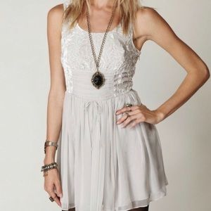 NWT Free People Silver velvet and Chiffon Dress